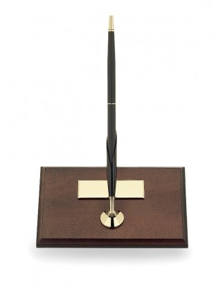 DESK SET MAHOGANY BASE/CLASSIC BLACK